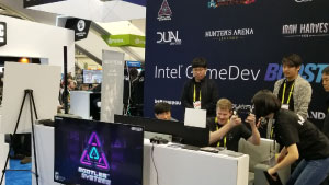 Intel Booth GDC 2019 in San Francisco Demo Station Neonable Bootleg Systems Logo Wall