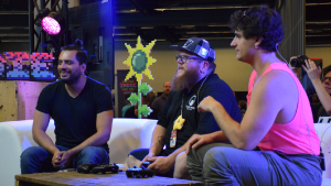 Speedrun with Neonable founder Gabriel De Roy and speedrunner GVirus on Loto-Quebec indie zone twitch stage for Bootleg Systems