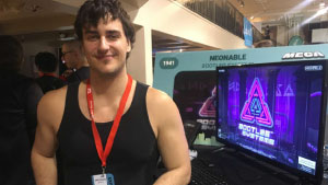 Montreal MEGA 2018 Neonable Booth Bootleg Systems Radio-Canada Radio Interview with Founder Gabriel De Roy about Bernard Landry by Fanny Bussieres