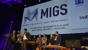 Montreal International Game Summit 2017 Neonable Bootleg Systems Prix Coup de Coeur Indie Pitch Loto-Quebec with Founder Gabriel De Roy